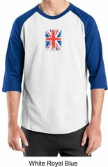 Union Jack Shirt British UK Flag Small Print Adult Raglan Shirt