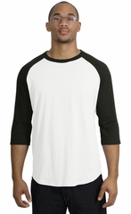Upscale Sport Tek Big Sizes 3/4 Sleeve Raglan Shirt White Black