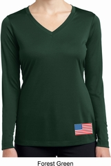 US Flag Bottom Print Ladies Dry Wicking Long Sleeve Shirt