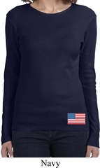 US Flag Bottom Print Ladies Long Sleeve Shirt