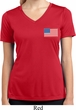US Flag Pocket Print Ladies Moisture Wicking V-neck Shirt