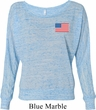 US Flag Pocket Print Ladies Off Shoulder Shirt