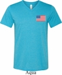US Flag Pocket Print Mens Tri Blend V-neck Shirt