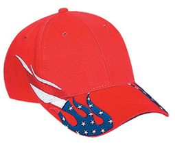US Hat with Patriotic Flag Flame Design - Adjustable Cotton Cap