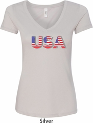 USA 3D Ladies V-Neck Shirt