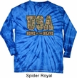 USA Home of the Brave Long Sleeve Tie Dye Shirt