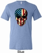 USA Skull Mens Tri Blend Crewneck Shirt