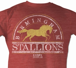 USFL Birmingham Stallions T-shirt Football League Adult Red Tee Shirt