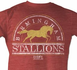 d8022088093e USFL Birmingham Stallions T-shirt Football League Adult Red Tee Shirt