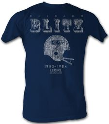 USFL Chicago Blitz T-shirt Football League Adult Navy Tee Shirt
