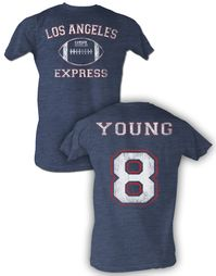 USFL Los Angeles Express T-shirt Steve Young Navy Heather Tee Shirt