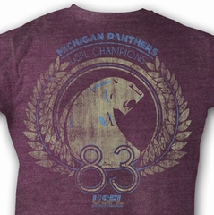 USFL Michigan Panthers T-shirt 1983 Champions Adult Purple Tee Shirt