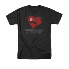 Valentine's Day Shirt Popping The Question Adult Black Tee T-Shirt