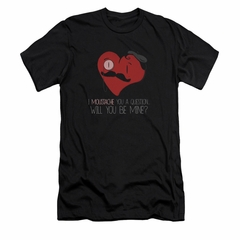 Valentine's Day Shirt Slim Fit V Neck Popping The Question Black Tee T-Shirt