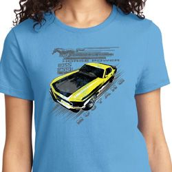 Vintage Yellow Mustang Boss Ladies Ford Shirts