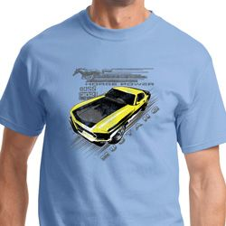 Vintage Yellow Mustang Boss Mens Ford Shirts