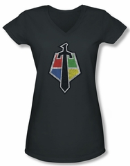 Voltron Shirt Juniors V Neck Sigil Charcoal Tee Shirt