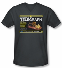 Warehouse 13 Shirt Slim Fit V Neck Telegraph Island Charcoal Tee Shirt