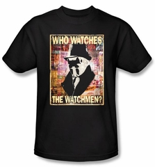 Watchmen T-shirt Movie Superhero Who Watches Adult Black Tee Shirt