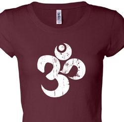 White Distressed OM Ladies Yoga Shirts