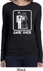 White Game Over Ladies Long Sleeve Shirt