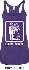White Game Over Ladies Tri Blend Racerback Tank Top