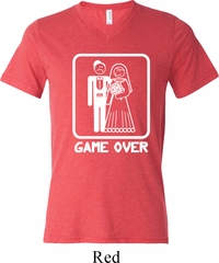 White Game Over Mens Tri Blend V-neck Shirt