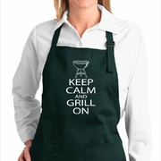 White Keep Calm Grill On Aprons