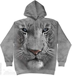 White Tiger Face Hoodie Tie Dye Adult Hooded Sweat Shirt Hoody