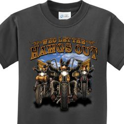 Who Let The Hawgs Out Kids Biker Shirts