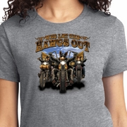 Who Let The Hawgs Out Ladies Biker Shirts