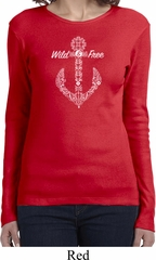 Wild and Free Anchor Ladies Long Sleeve Shirt