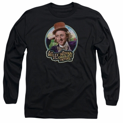 Willy Wonka and The Chocolate Factory  Long Sleeve Shirt Its Scrumdiddlyumptious Black Tee T-Shirt