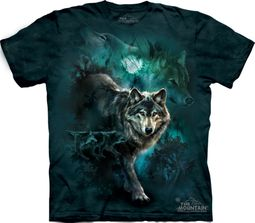 Wolf Shirt Tie Dye Night Wolves Collage T-shirt Adult Tee