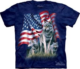 Wolf Shirt Tie Dye Wolves American Flag T-shirt Adult Tee