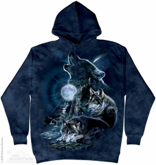 Wolves At Midnight Hoodie Tie Dye Adult Hooded Sweat Shirt Hoody