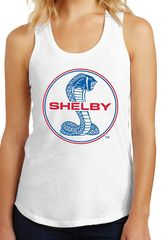 Womens Mustang Blue & Red Shelby Cobra Racerback Tank Top