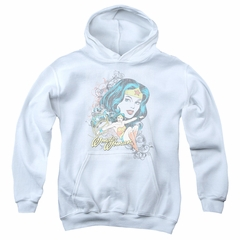 Wonder Woman Kids Hoodie Scroll White Youth Hoody