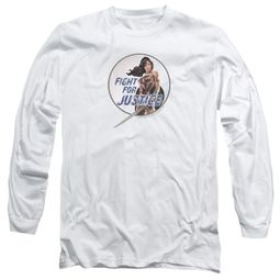 Wonder Woman Movie  Long Sleeve Shirt Fight For Justice White Tee T-Shirt