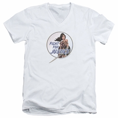 Wonder Woman Movie  Slim Fit V-Neck Shirt Fight For Justice White T-Shirt