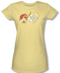 Woody Woodpecker Junior Shirt Famous Laugh Yellow Tee T-Shirt