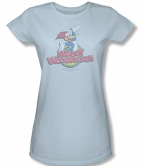 Woody Woodpecker Junior Shirt Retro Fade Light Blue Tee T-Shirt