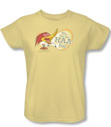 Woody Woodpecker Ladies Shirt Famous Laugh Yellow Tee T-Shirt