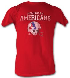 World Football League Retro T-Shirt � Americans Adult Red Tee Shirt