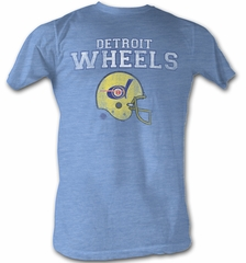 World Football League T-Shirt Detroit Wheels Adult Light Blue Tee