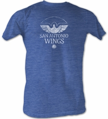World Football League T-Shirt San Antonio Wings Adult Blue Heather Tee