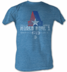 World Football League T-Shirt World Bowl 1974 Adult Blue Heather Tee