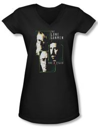 X-Files Shirt Juniors V Neck Lone Gunmen Black Tee T-Shirt