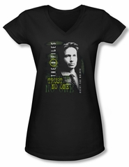 X-Files Shirt Juniors V Neck Mulder Black Tee T-Shirt