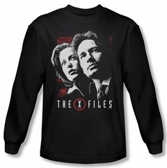 X-Files Shirt Mulder & Scully Long Sleeve Black Tee T-Shirt